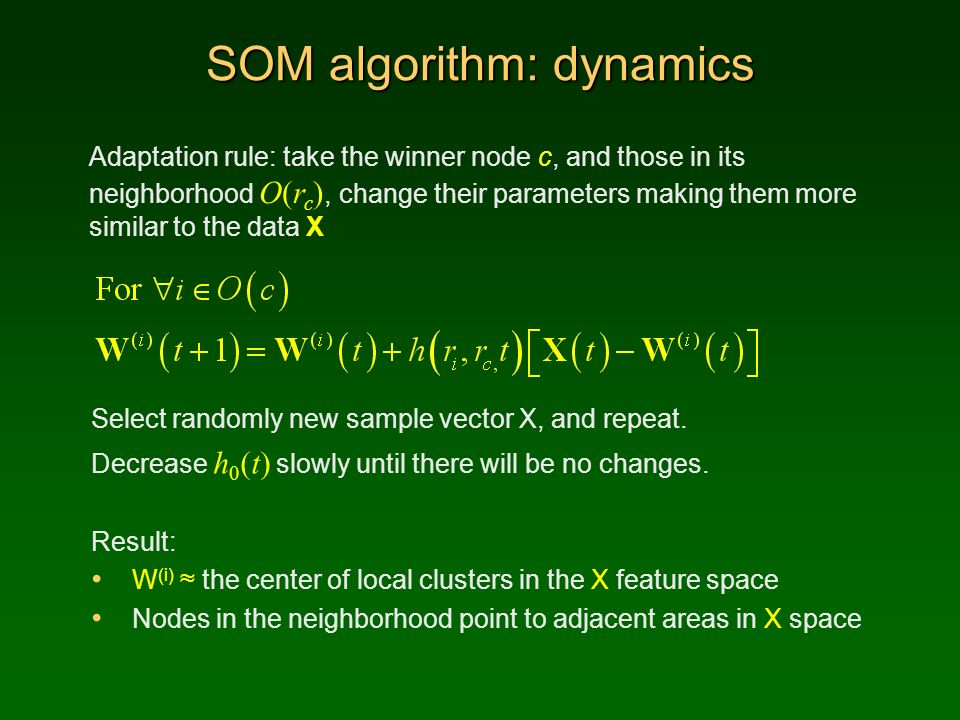 SOM algorithm: dynamics Adaptation rule: take the winner node c, and those in its neighborhood O(r c ), change their parameters making them more simil