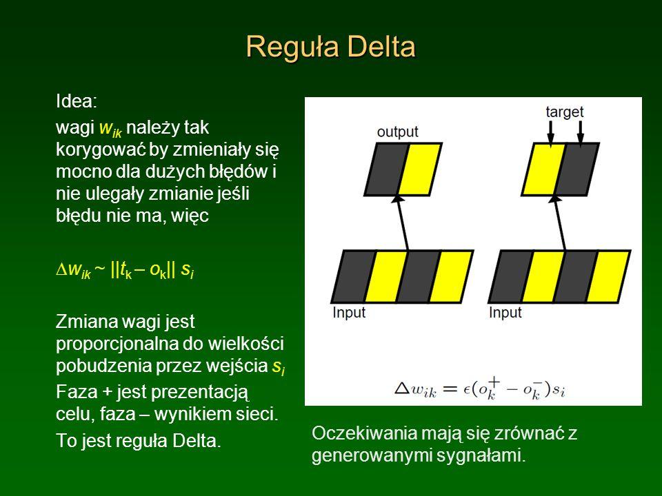 Reguła Delta Idea: wagi w ik należy tak korygować by zmieniały się mocno dla dużych błędów i nie ulegały zmianie jeśli błędu nie ma, więc w ik ~ ||t k