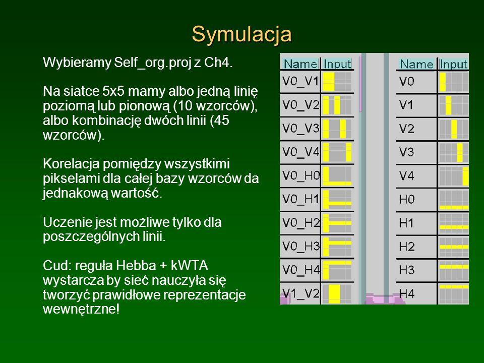 Symulacja Wybieramy Self_org.proj z Ch4. Na siatce 5x5 mamy albo jedną linię poziomą lub pionową (10 wzorców), albo kombinację dwóch linii (45 wzorców