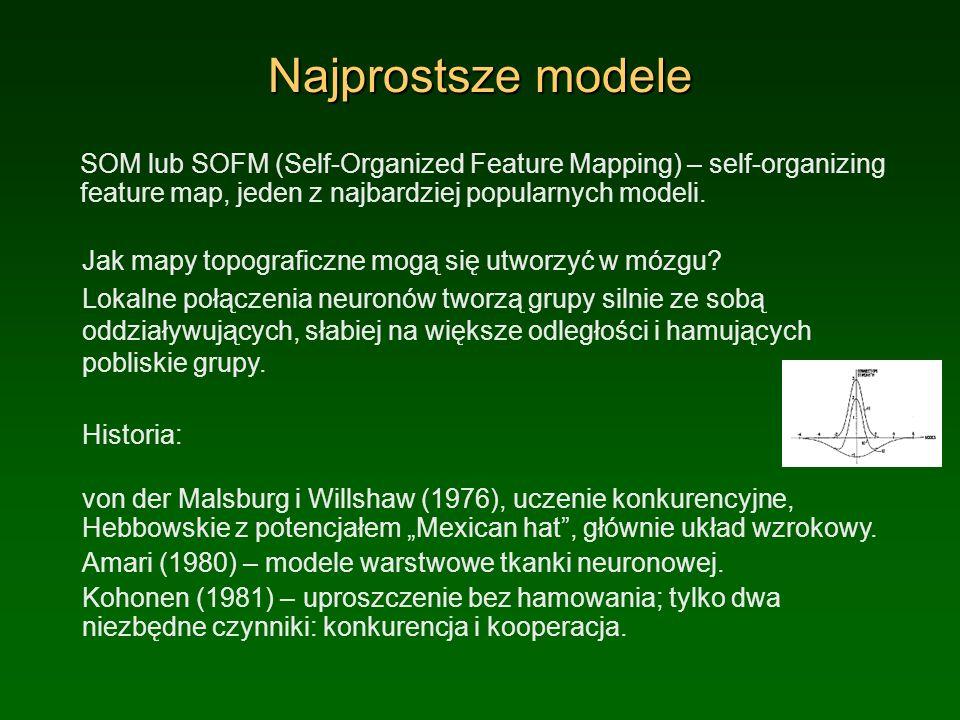 Najprostsze modele SOM lub SOFM (Self-Organized Feature Mapping) – self-organizing feature map, jeden z najbardziej popularnych modeli. Jak mapy topog