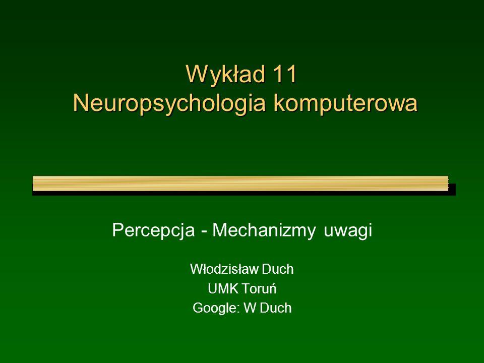 Wykład 11 Neuropsychologia komputerowa Percepcja - Mechanizmy uwagi Włodzisław Duch UMK Toruń Google: W Duch