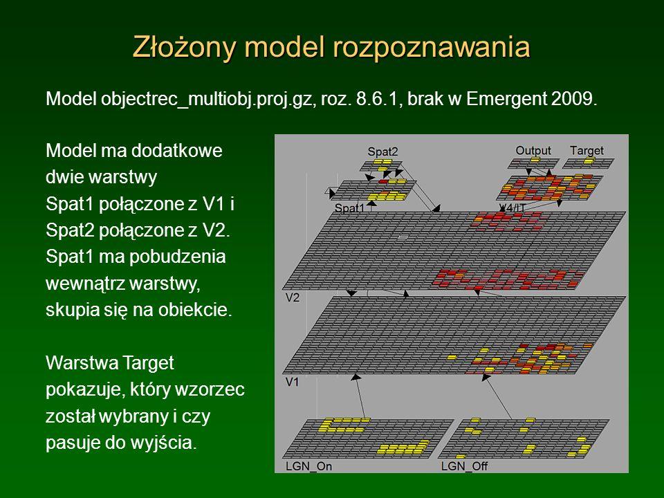 Złożony model rozpoznawania Model objectrec_multiobj.proj.gz, roz. 8.6.1, brak w Emergent 2009. Model ma dodatkowe dwie warstwy Spat1 połączone z V1 i