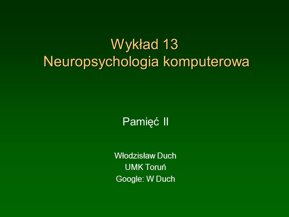 Wykład 13 Neuropsychologia komputerowa Pamięć II Włodzisław Duch UMK Toruń Google: W Duch