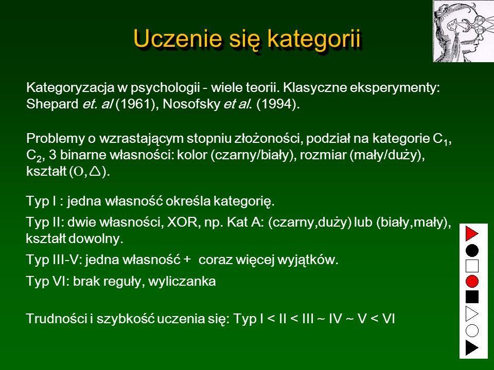 Uczenie się kategorii Kategoryzacja w psychologii - wiele teorii. Klasyczne eksperymenty: Shepard et. al (1961), Nosofsky et al. (1994). Problemy o wz