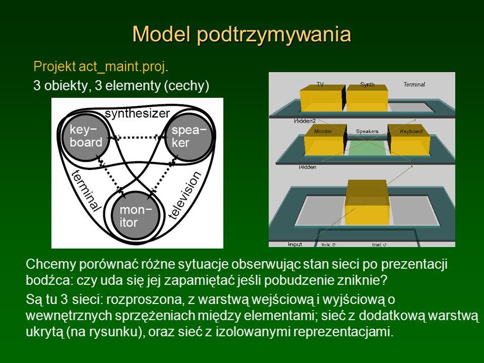 Model podtrzymywania Projekt act_maint.proj. 3 obiekty, 3 elementy (cechy) Chcemy porównać różne sytuacje obserwując stan sieci po prezentacji bodźca: