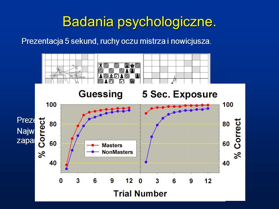 Badania psychologiczne. Prezentacja 5 sekund, ruchy oczu mistrza i nowicjusza. Prezentacja dłuższa, od nowicjusza do mistrza. Największe różnice są w