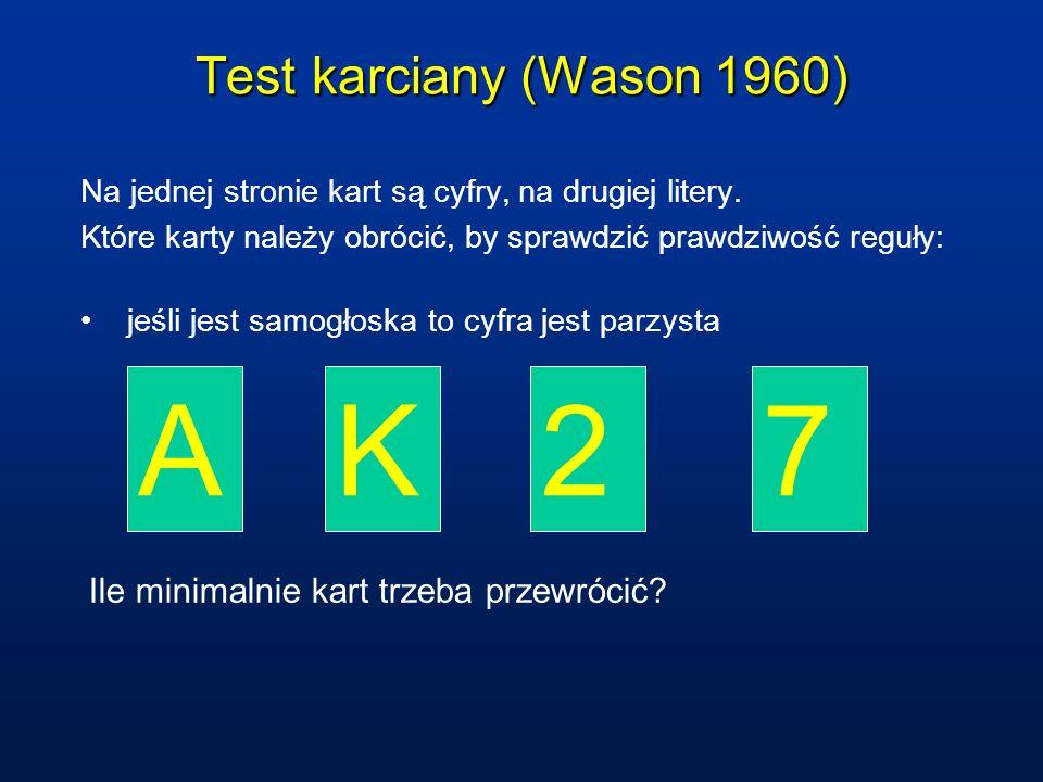 Test karciany (Wason 1960) Na jednej stronie kart są cyfry, na drugiej litery. Które karty należy obrócić, by sprawdzić prawdziwość reguły: jeśli jest