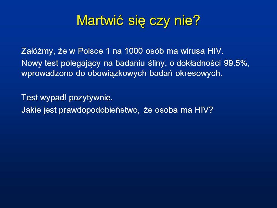 Martwić się czy nie? Załóżmy, że w Polsce 1 na 1000 osób ma wirusa HIV. Nowy test polegający na badaniu śliny, o dokładności 99.5%, wprowadzono do obo