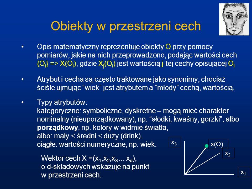Obiekty w przestrzeni cech Opis matematyczny reprezentuje obiekty O przy pomocy pomiarów, jakie na nich przeprowadzono, podając wartości cech {O i } =