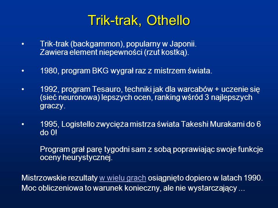 Trik-trak, Othello Trik-trak (backgammon), popularny w Japonii. Zawiera element niepewności (rzut kostką). 1980, program BKG wygrał raz z mistrzem świ