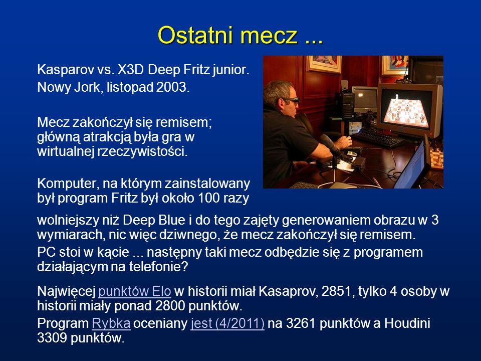Ostatni mecz... Kasparov vs. X3D Deep Fritz junior. Nowy Jork, listopad 2003. Mecz zakończył się remisem; główną atrakcją była gra w wirtualnej rzeczy