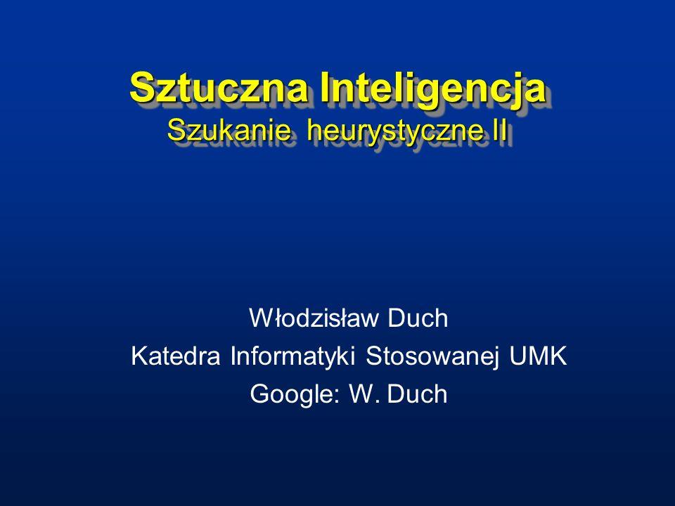 Sztuczna Inteligencja Szukanie heurystyczne II Włodzisław Duch Katedra Informatyki Stosowanej UMK Google: W. Duch