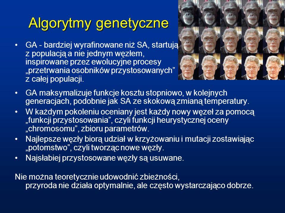 Algorytmy genetyczne GA - bardziej wyrafinowane niż SA, startują z populacją a nie jednym węzłem, inspirowane przez ewolucyjne procesy przetrwania oso