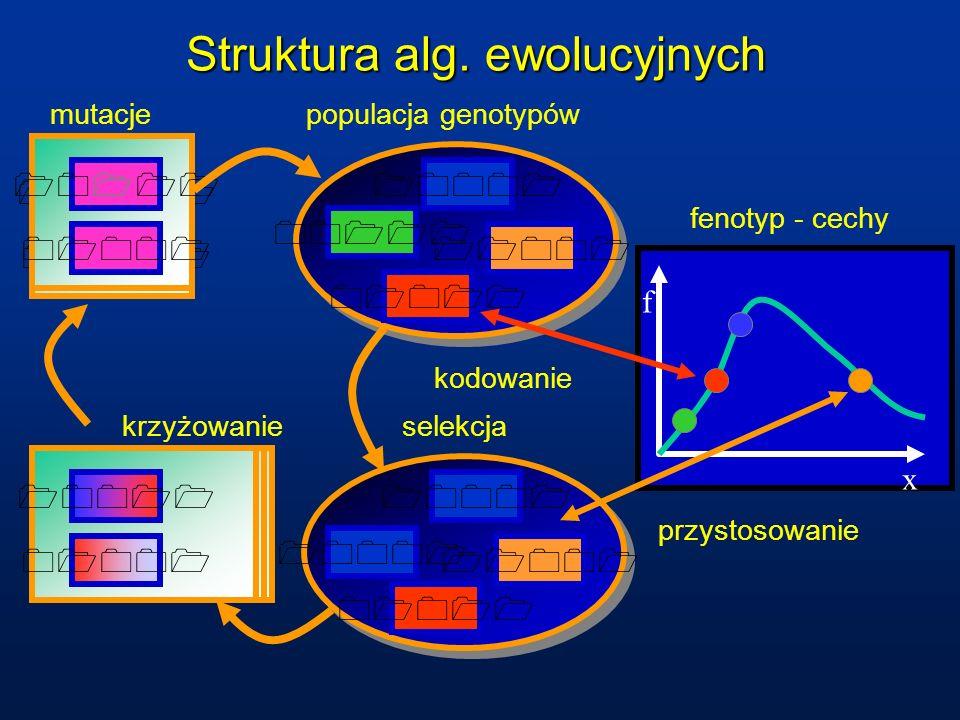 krzyżowanie 10001 01011 10011 01001 mutacje x f fenotyp - cechy Struktura alg. ewolucyjnych 00111 11001 10001 01011 populacja genotypów kodowanie przy