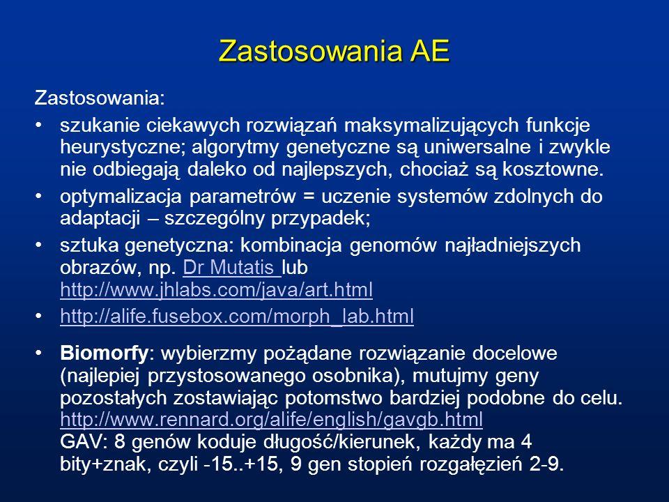 Zastosowania AE Zastosowania: szukanie ciekawych rozwiązań maksymalizujących funkcje heurystyczne; algorytmy genetyczne są uniwersalne i zwykle nie od