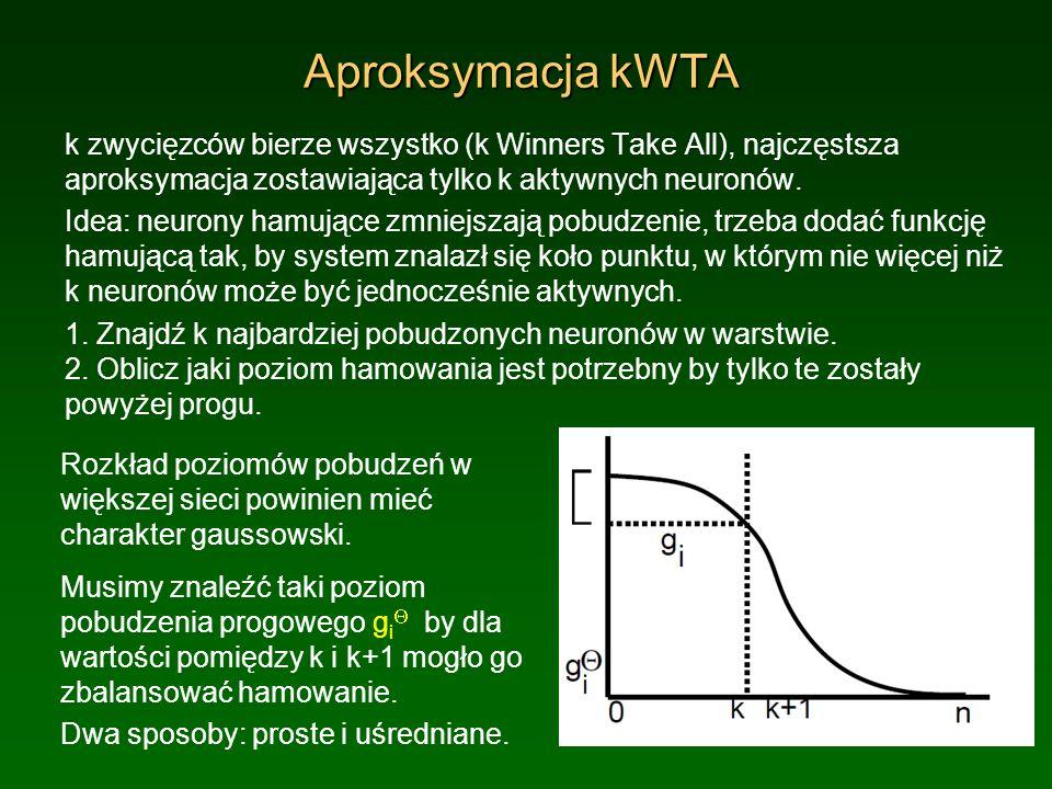 Aproksymacja kWTA k zwycięzców bierze wszystko (k Winners Take All), najczęstsza aproksymacja zostawiająca tylko k aktywnych neuronów. Idea: neurony h