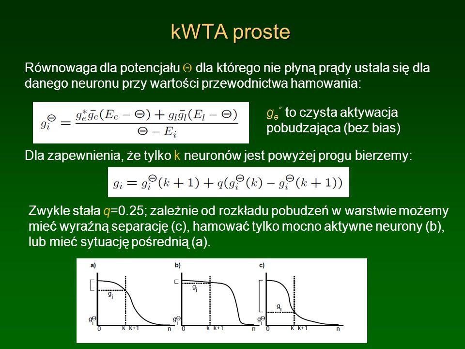 kWTA proste Równowaga dla potencjału dla którego nie płyną prądy ustala się dla danego neuronu przy wartości przewodnictwa hamowania: Dla zapewnienia,