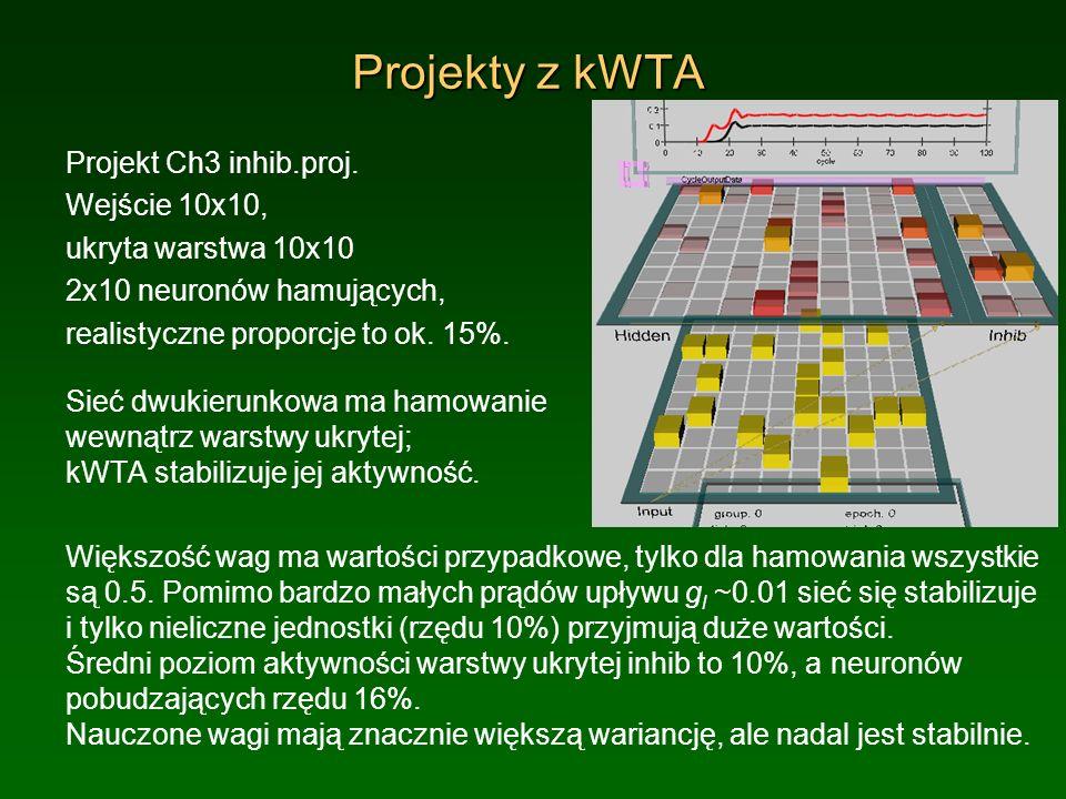 Projekty z kWTA Projekt Ch3 inhib.proj. Wejście 10x10, ukryta warstwa 10x10 2x10 neuronów hamujących, realistyczne proporcje to ok. 15%. Sieć dwukieru