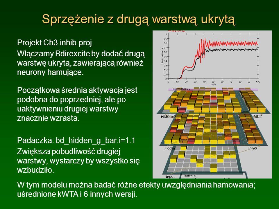 Sprzężenie z drugą warstwą ukrytą Projekt Ch3 inhib.proj. Włączamy Bdirexcite by dodać drugą warstwę ukrytą, zawierającą również neurony hamujące. Poc