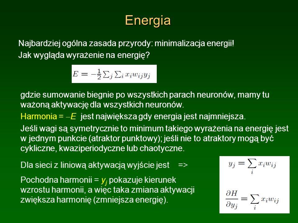 Energia Najbardziej ogólna zasada przyrody: minimalizacja energii! Jak wygląda wyrażenie na energię? gdzie sumowanie biegnie po wszystkich parach neur