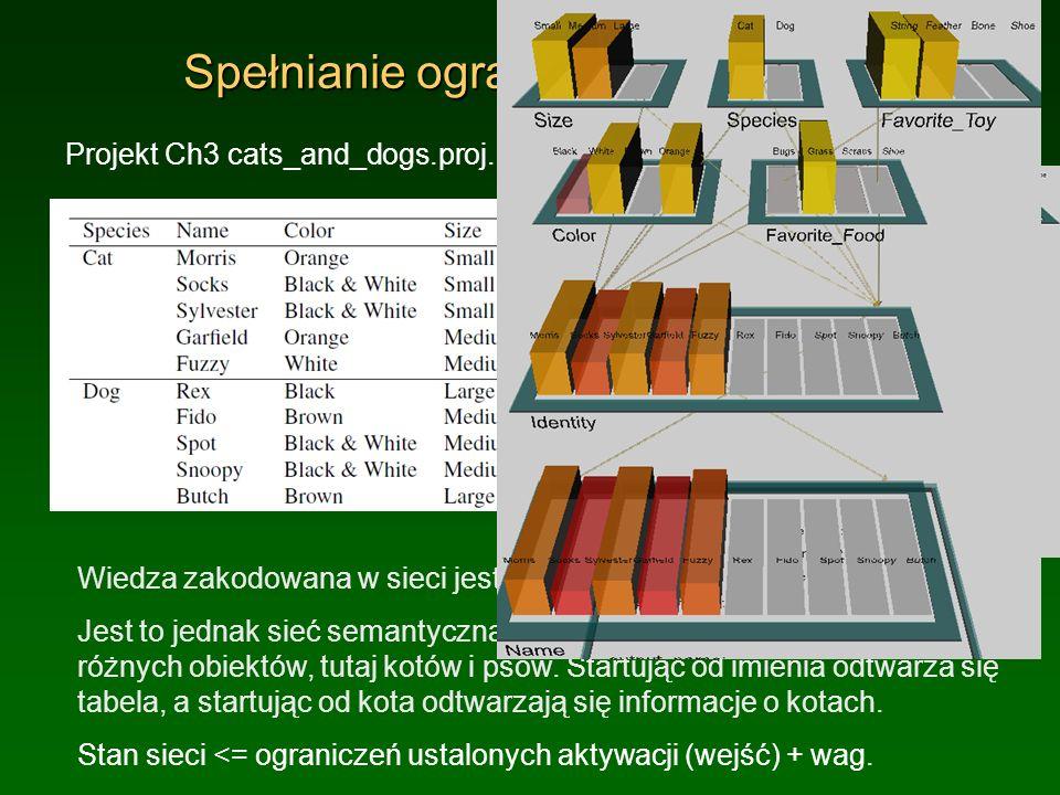 Spełnianie ograniczeń: koty i psy Projekt Ch3 cats_and_dogs.proj. Wiedza zakodowana w sieci jest taka sama jak w Tabeli. Jest to jednak sieć semantycz