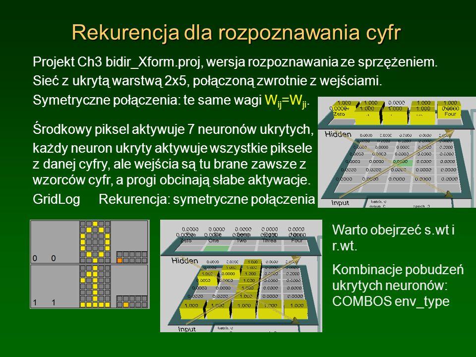 Rekurencja dla rozpoznawania cyfr Projekt Ch3 bidir_Xform.proj, wersja rozpoznawania ze sprzężeniem. Sieć z ukrytą warstwą 2x5, połączoną zwrotnie z w