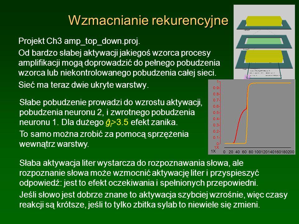 Wzmacnianie rekurencyjne Projekt Ch3 amp_top_down.proj. Od bardzo słabej aktywacji jakiegoś wzorca procesy amplifikacji mogą doprowadzić do pełnego po