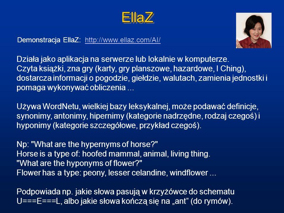 EllaZEllaZ Demonstracja EllaZ: http://www.ellaz.com/AI/http://www.ellaz.com/AI/ Działa jako aplikacja na serwerze lub lokalnie w komputerze. Czyta ksi