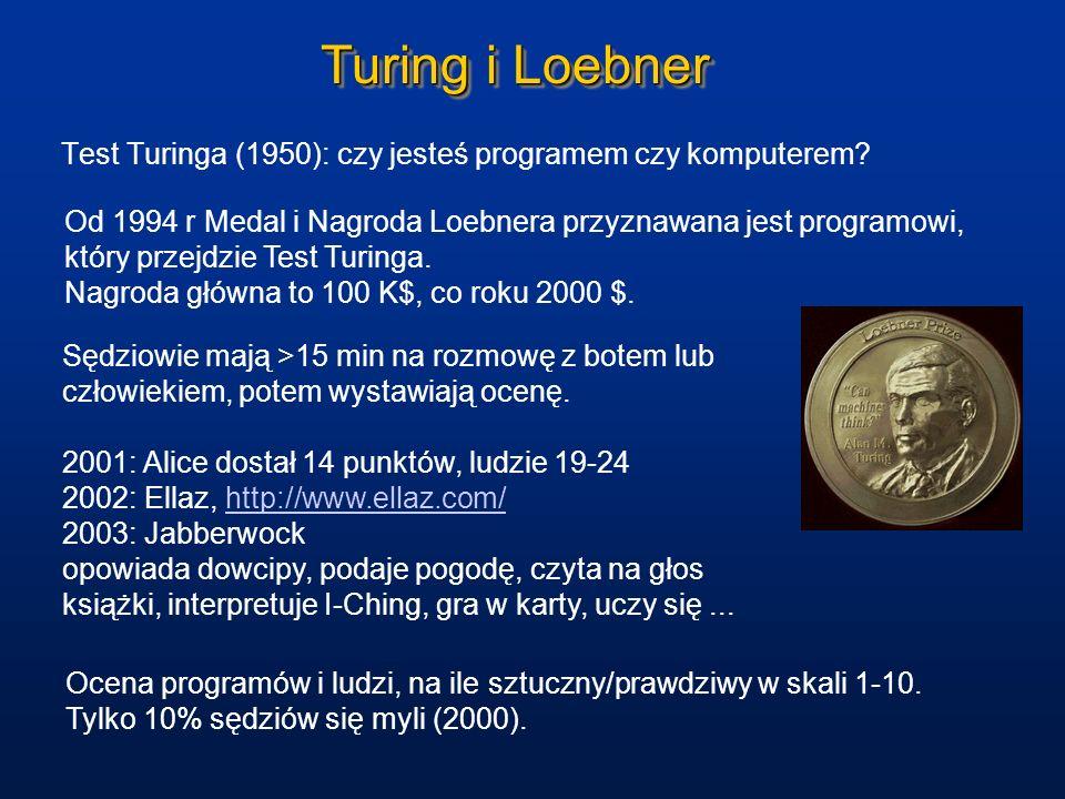 Turing i Loebner Test Turinga (1950): czy jesteś programem czy komputerem? Od 1994 r Medal i Nagroda Loebnera przyznawana jest programowi, który przej