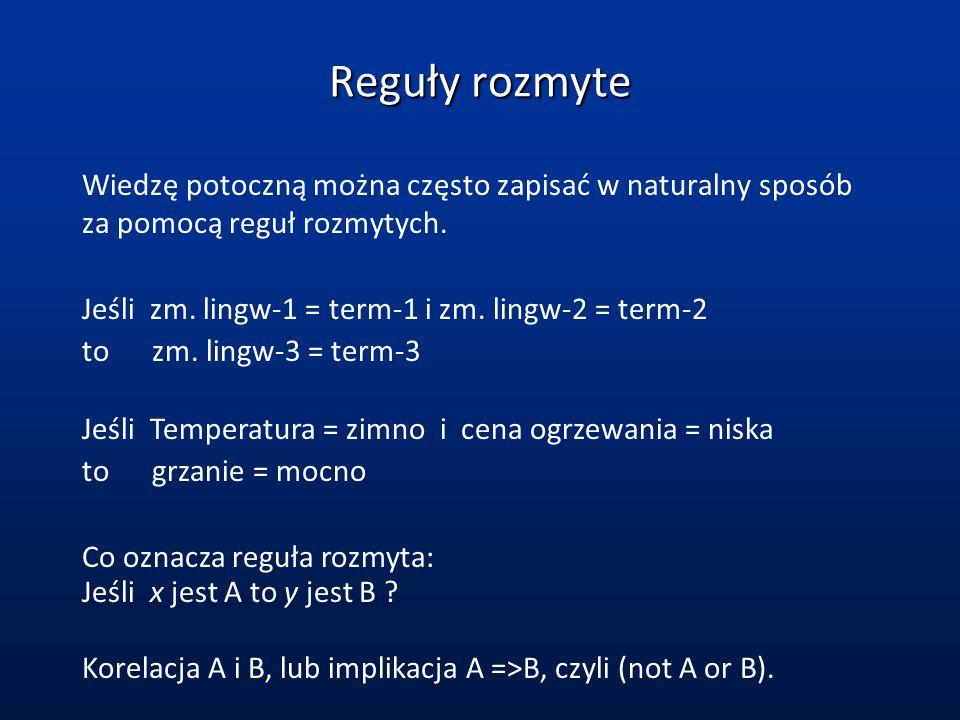 Reguły rozmyte Wiedzę potoczną można często zapisać w naturalny sposób za pomocą reguł rozmytych. Jeśli zm. lingw-1 = term-1 i zm. lingw-2 = term-2 to