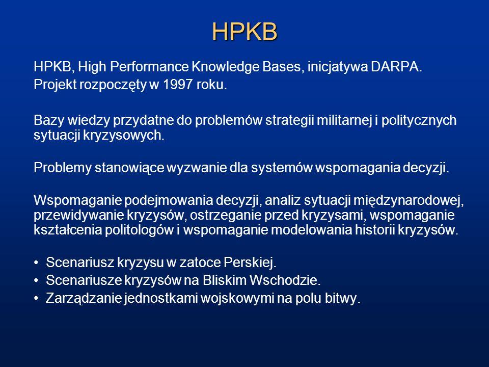 HPKB HPKB, High Performance Knowledge Bases, inicjatywa DARPA. Projekt rozpoczęty w 1997 roku. Bazy wiedzy przydatne do problemów strategii militarnej