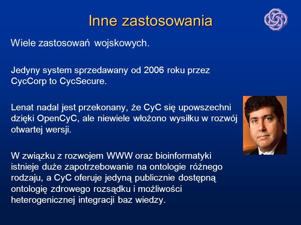 Inne zastosowania Jedyny system sprzedawany od 2006 roku przez CycCorp to CycSecure. Lenat nadal jest przekonany, że CyC się upowszechni dzięki OpenCy