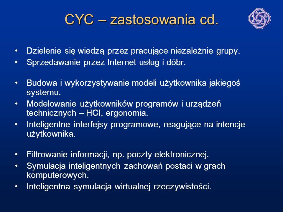 CYC – zastosowania cd. Dzielenie się wiedzą przez pracujące niezależnie grupy. Sprzedawanie przez Internet usług i dóbr. Budowa i wykorzystywanie mode