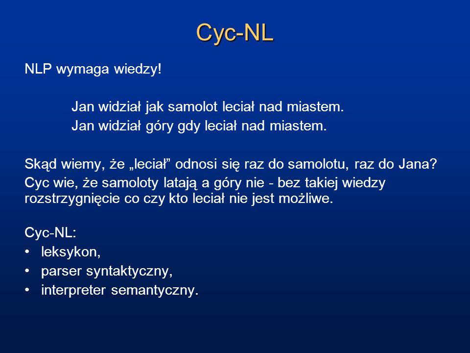 Cyc-NL NLP wymaga wiedzy! Jan widział jak samolot leciał nad miastem. Jan widział góry gdy leciał nad miastem. Skąd wiemy, że leciał odnosi się raz do
