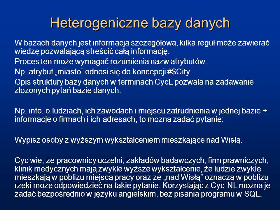 Heterogeniczne bazy danych W bazach danych jest informacja szczegółowa, kilka reguł może zawierać wiedzę pozwalającą streścić całą informację. Proces