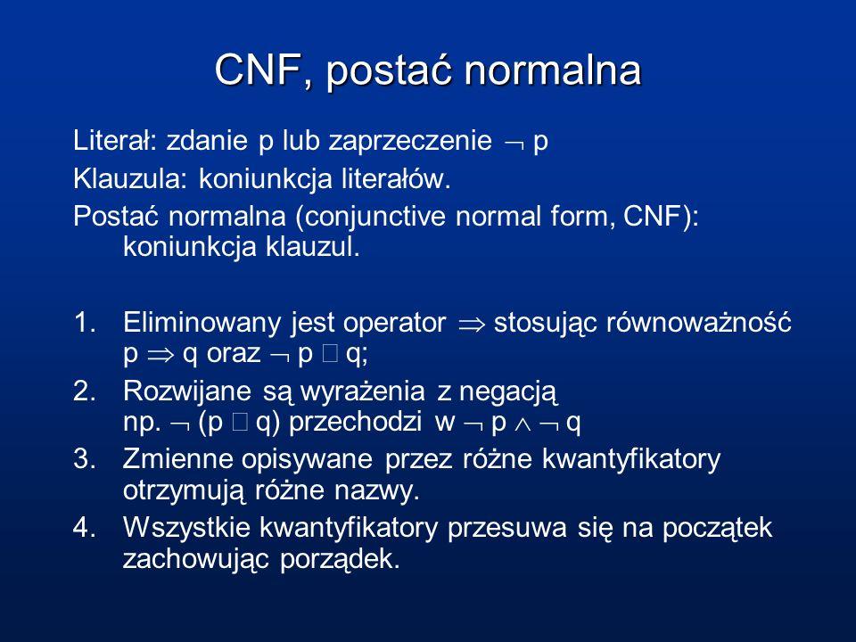 CNF, postać normalna Literał: zdanie p lub zaprzeczenie p Klauzula: koniunkcja literałów. Postać normalna (conjunctive normal form, CNF): koniunkcja k