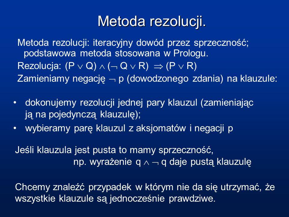 Metoda rezolucji. Metoda rezolucji: iteracyjny dowód przez sprzeczność; podstawowa metoda stosowana w Prologu. Rezolucja: (P Q) ( Q R) (P R) Zamieniam