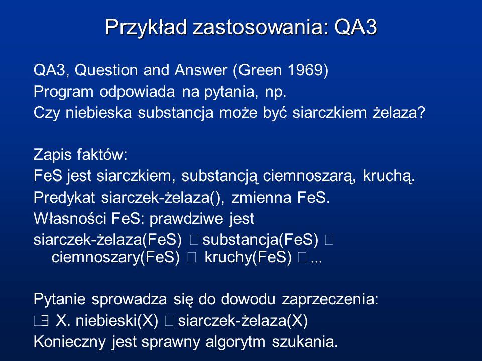 Przykład zastosowania: QA3 QA3, Question and Answer (Green 1969) Program odpowiada na pytania, np. Czy niebieska substancja może być siarczkiem żelaza