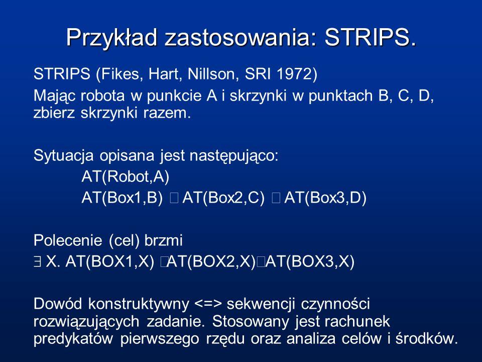 Przykład zastosowania: STRIPS. STRIPS (Fikes, Hart, Nillson, SRI 1972) Mając robota w punkcie A i skrzynki w punktach B, C, D, zbierz skrzynki razem.