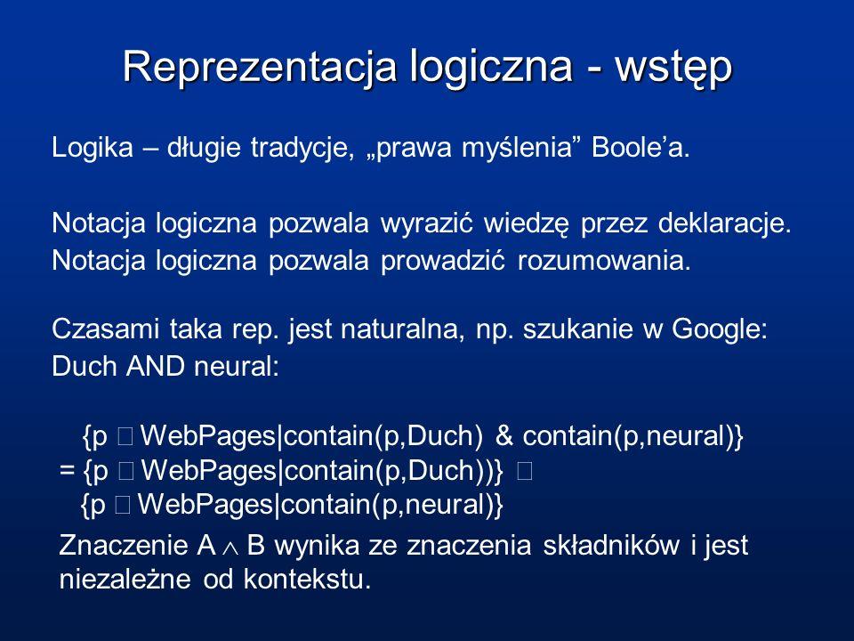 Reprezentacja logiczna - wstęp Logika – długie tradycje, prawa myślenia Boolea. Notacja logiczna pozwala wyrazić wiedzę przez deklaracje. Notacja logi