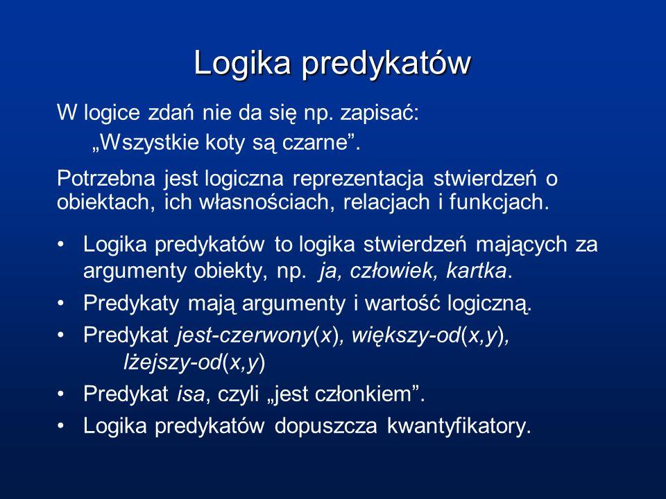 Logika predykatów Logika predykatów W logice zdań nie da się np. zapisać: Wszystkie koty są czarne. Potrzebna jest logiczna reprezentacja stwierdzeń o