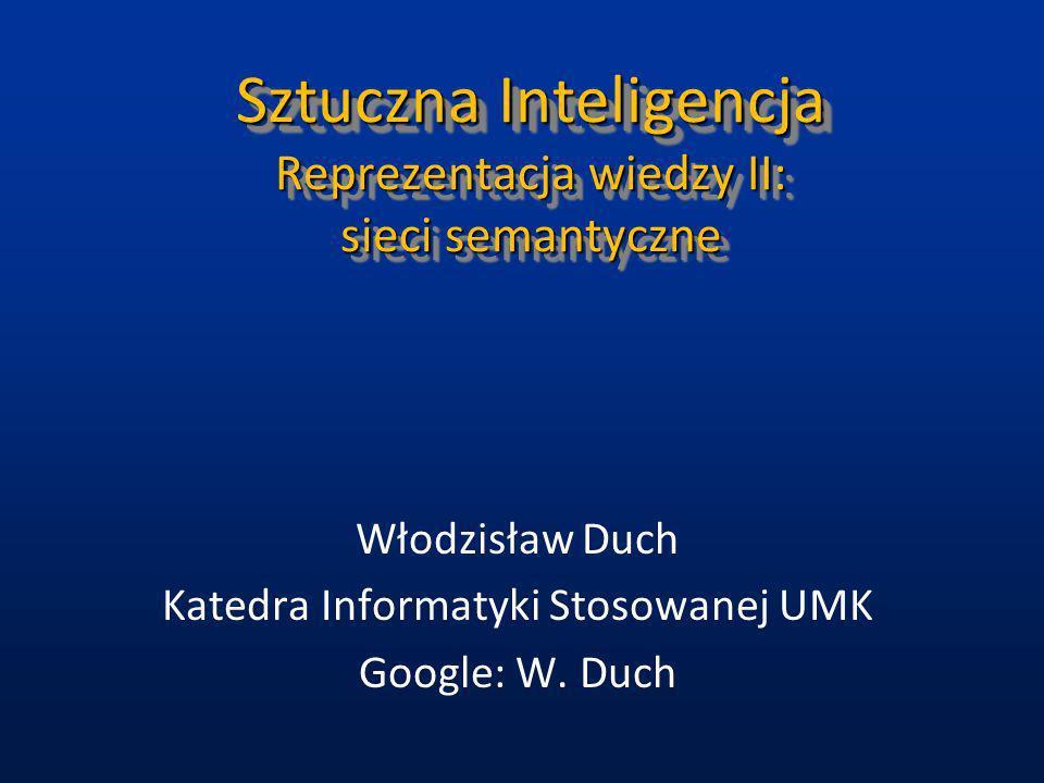 Sztuczna Inteligencja Reprezentacja wiedzy II: sieci semantyczne Włodzisław Duch Katedra Informatyki Stosowanej UMK Google: W. Duch