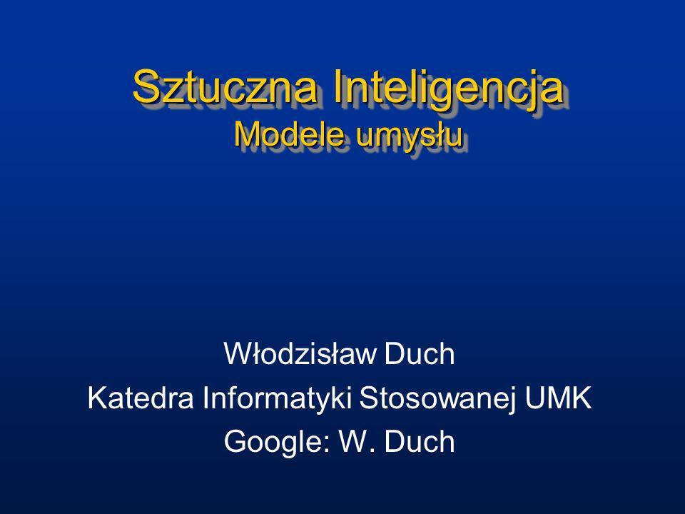 Sztuczna Inteligencja Modele umysłu Włodzisław Duch Katedra Informatyki Stosowanej UMK Google: W. Duch