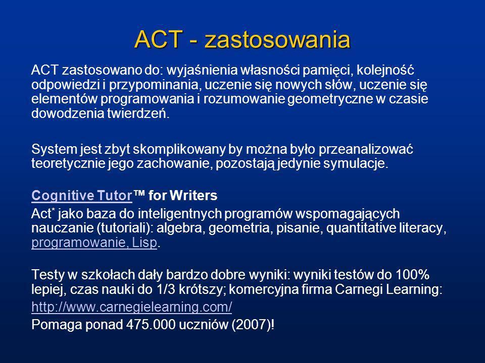 ACT - zastosowania ACT zastosowano do: wyjaśnienia własności pamięci, kolejność odpowiedzi i przypominania, uczenie się nowych słów, uczenie się eleme