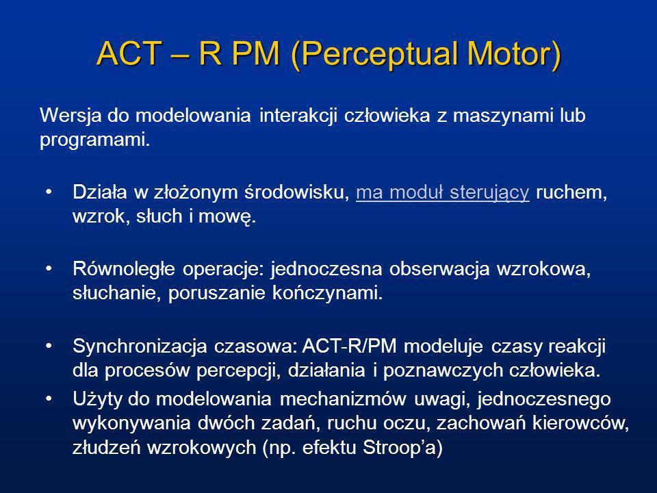 ACT – R PM (Perceptual Motor) Wersja do modelowania interakcji człowieka z maszynami lub programami. Działa w złożonym środowisku, ma moduł sterujący