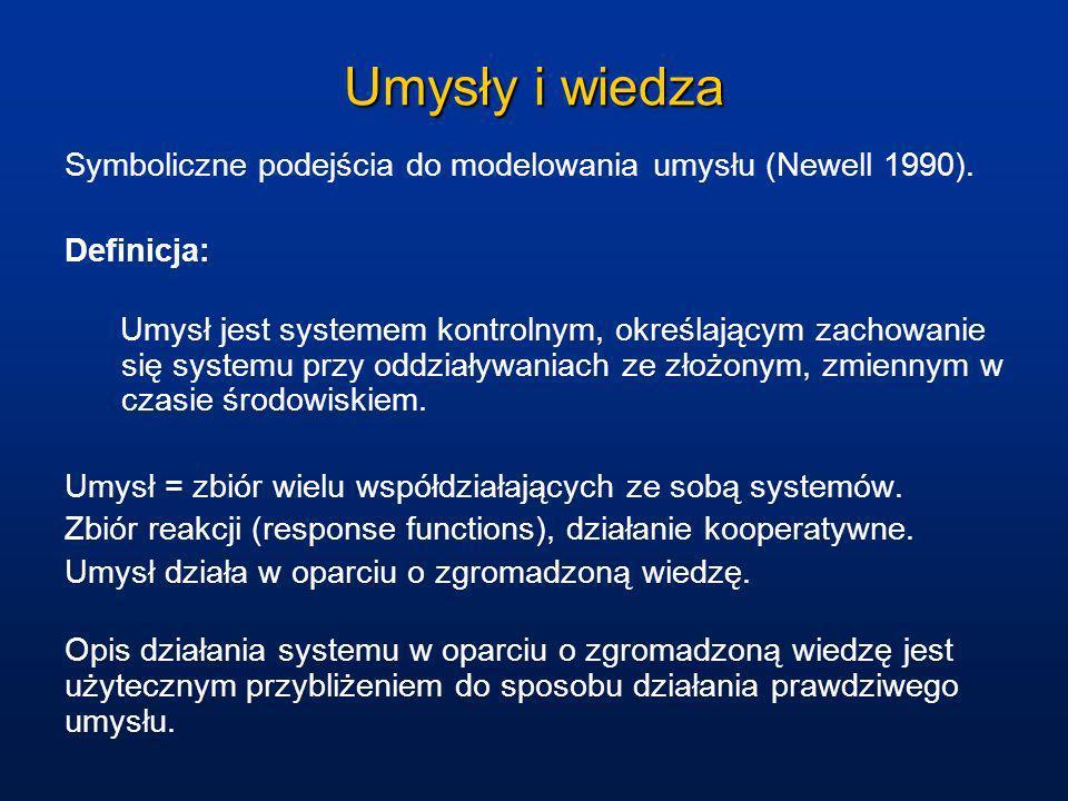 Umysły i wiedza Symboliczne podejścia do modelowania umysłu (Newell 1990). Definicja: Umysł jest systemem kontrolnym, określającym zachowanie się syst
