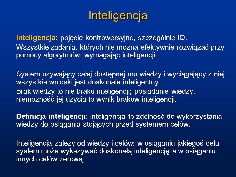 Inteligencja Inteligencja: pojęcie kontrowersyjne, szczególnie IQ. Wszystkie zadania, których nie można efektywnie rozwiązać przy pomocy algorytmów, w