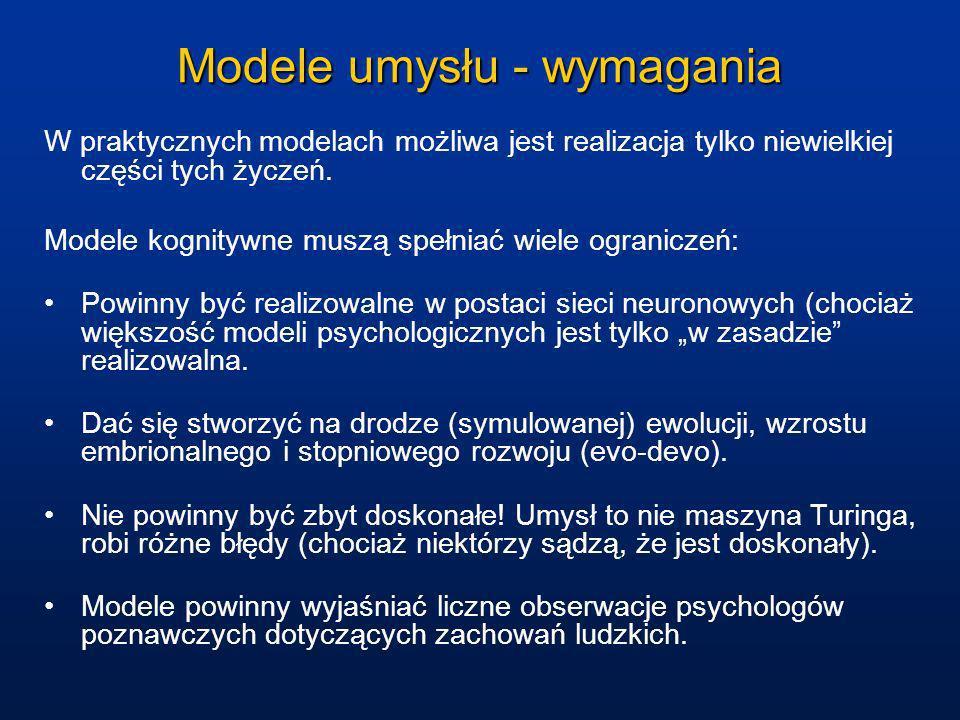 Modele umysłu - wymagania W praktycznych modelach możliwa jest realizacja tylko niewielkiej części tych życzeń. Modele kognitywne muszą spełniać wiele