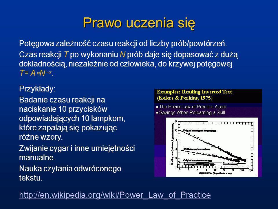 Prawo uczenia się Potęgowa zależność czasu reakcji od liczby prób/powtórzeń. Czas reakcji T po wykonaniu N prób daje się dopasować z dużą dokładnością