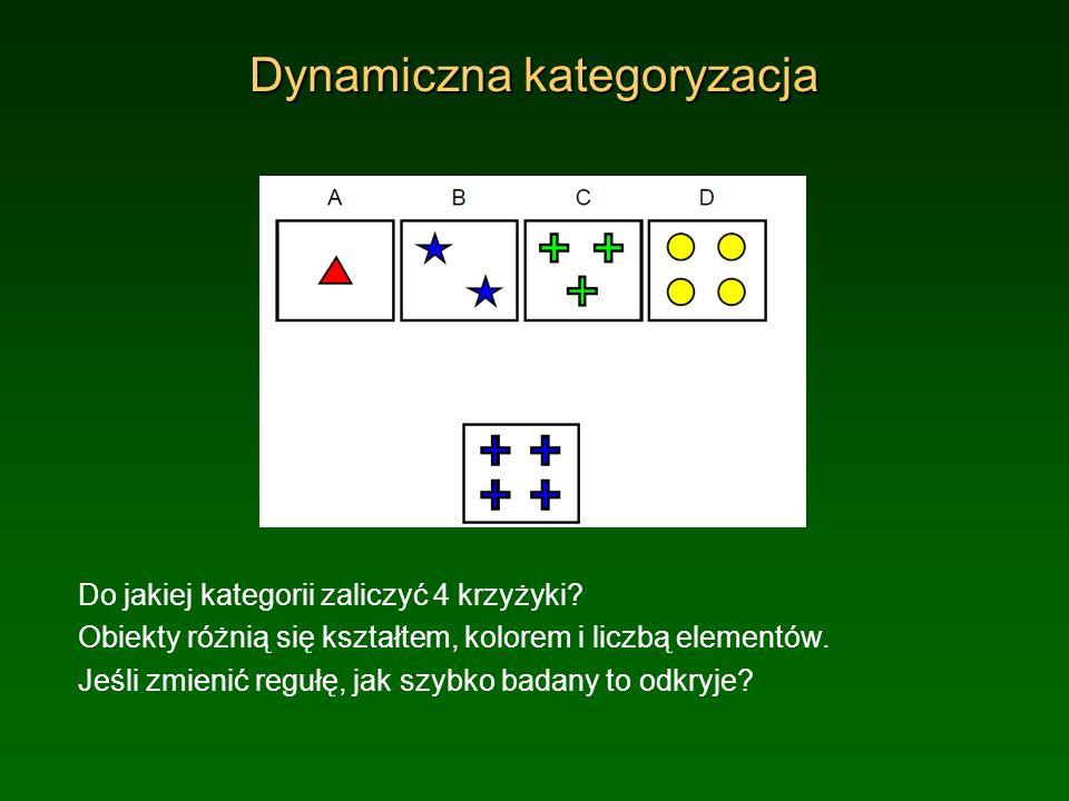 Dynamiczna kategoryzacja Do jakiej kategorii zaliczyć 4 krzyżyki? Obiekty różnią się kształtem, kolorem i liczbą elementów. Jeśli zmienić regułę, jak